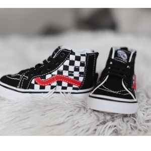 Toddler black and with checkered high top Vans